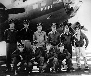 "RAF Bury St Edmunds - Crew photo of B-17 ""Axis Hot Foot"", 333rd Bomb Squadron, 94th Bombardment Group, RAF Bury St Edmunds."