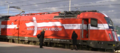 Railway trains painted in the color of the finalists (Denmark).png