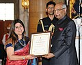 Ram Nath Kovind presenting the Nari Shakti Puruskar for the year 2017 to Ms. Ambika Beri, Kolkata, West Bengal, at a function, on the occasion of the International Women's Day, at Rashtrapati Bhavan, in New Delhi.jpg