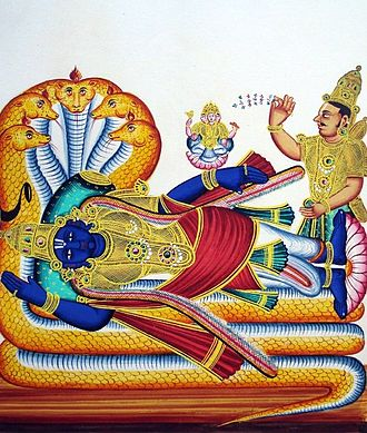 Ranganathaswamy Temple, Srirangam - Ranganatha painting (not from the temple, nothing like the one in the temple).