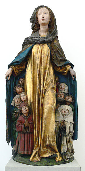 Consecration and entrustment to Mary - The consecrated being sheltered under the protective mantle of the Virgin, Ravensburg, c. 1480. Attributed to Michel Erhart