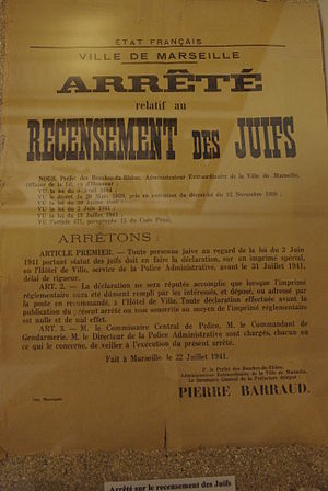 The Holocaust in France - 1941 poster from Marseilles announcing the order for Jews to register