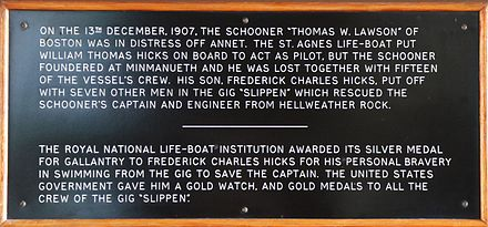 Description of the rescue attempt by the St Agnes' Lifeboat crew from a panel in St Agnes' Church, St Agnes Isles of Scilly Record of the saving of men from the S.S. Lawson by the St Agnes Lifeboat.jpg