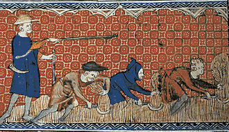 Serfdom - Reeve and serfs in feudal England, c. 1310