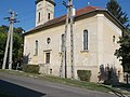 Reformed church and electric pylons, 2018 Dombóvár.jpg