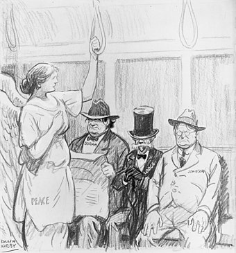 Senator Borah, Lodge and Johnson refuse Lady Peace a seat. Refers to efforts by Republican isolationists to block ratification of Treaty of Versailles establishing the League of Nations. Refusing to give the lady a seat --Treaty of Versailles.jpg