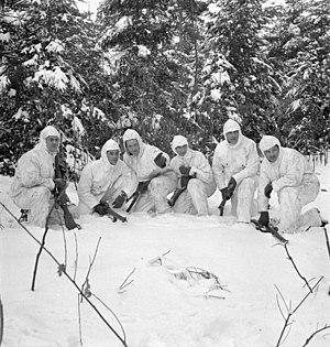 Régiment de la Chaudière - Infantrymen of the Régiment de la Chaudière, who are wearing British winter camouflage clothing, on patrol, Berg en dal, Netherlands, January 24, 1945