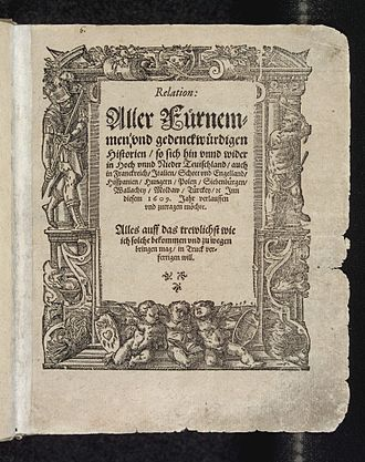 Newspaper - Title page of Carolus' Relation from 1609, the earliest newspaper