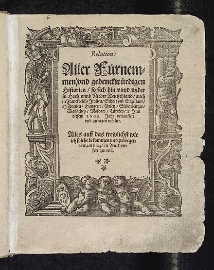 Title page of Carolus' Relation from 1609, the earliest newspaper
