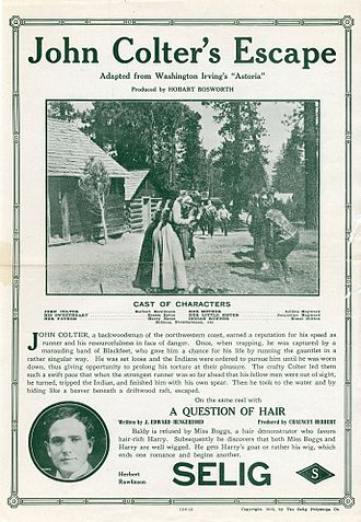 John Colter - Release flier for the 1912 silent film, John Colter's Escape