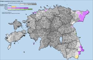 Religion in Estonia - Religion map of Estonia, 2011
