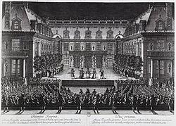 Aufführung von Lullys Alceste in Versailles, 1674 (Quelle: Wikimedia)