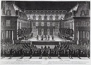 Jean-Baptiste Lully - Jean-Baptiste Lully and Philippe Quinault's opera Alceste being performed in the marble courtyard at the Palace of Versailles, 1674