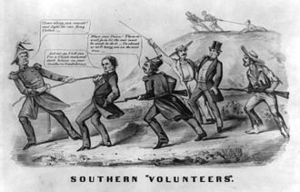 Confederate States Army - A cartoon from the war, showing the Confederates forcibly drafting a Unionist man into the Confederate army. The Unionist man objects, with the Confederates threatening to lynch him if he does not comply.