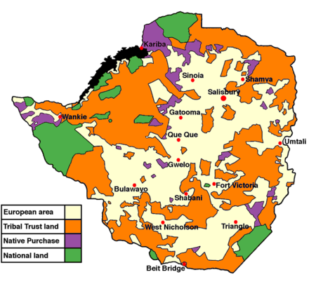 Land apportionment in Rhodesia in 1965 Rhodesialand.png