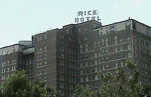 Rice Lofts - The top of the Rice Lofts, indicating its former name
