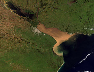 Samborombón Bay - Visible as a C-shaped indentation in the coast near the southern end of the Río de la Plata estuary