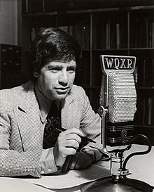 Robert Sherman (music critic) with a microphone from WQXR New York.
