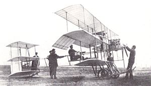 Triplane - A British Roe III Triplane in the United States in September 1910 with its designer, Alliot Verdon Roe, in the cockpit.