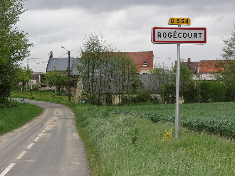 Rogécourt (Aisne) city limit sign