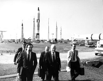 Rogers Commission Report - Members of the Rogers Commission arrive at Kennedy Space Center.