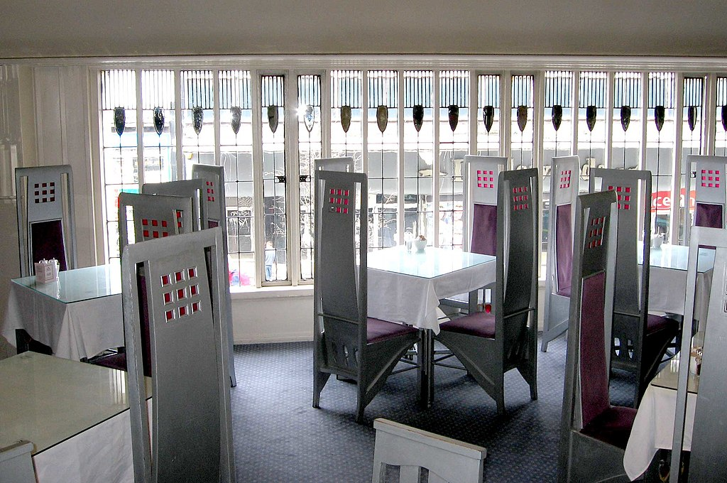 The Willow Tearooms à Glasgow dessiné par Charles Rennie Mackintosh avec la participation de Margaret MacDonald - Photo de Dave Souza