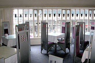 Charles Rennie Mackintosh - The Room de Luxe at The Willow Tearooms features furniture and interior design by Mackintosh and Margaret Macdonald.