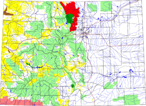 Roosevelt National Forest - Map of Colorado. The area of the Roosevelt National Forest is in red.