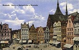 Rostock Neuer Markt Blutstrasse Marienkirche Nordseite 1900