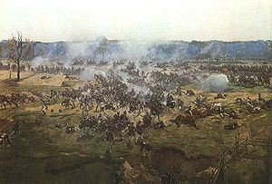 Bagration flèches - Fight for the Bagration flèches, fragment of Borodino battle panoramic painting by Franz Roubaud. The fortifications themselves are on the far right