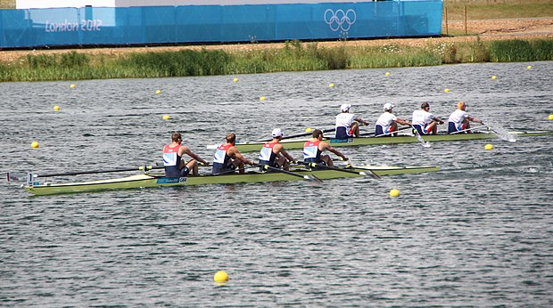 A side by side race at the 2012 Olympic Games - Men's lightweight coxless four Rowing at the 2012 Summer Olympics 9240 Mens lightweight coxless four - Heat 2 - GBR CZE.jpg