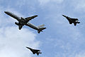 Royal New Zealand Air Force Boeing 757-200 and 2x F-15s.jpg