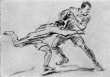 Drawing of two men playing rugby