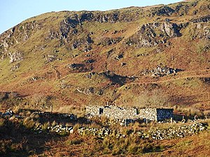 Demographic history of Scotland - Ruins of a Highland sheiling on marginal land, south of Oban