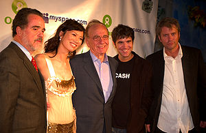 Myspace - Oxfam America President Raymond C. Offenheiser, Wendi Deng, and Rupert Murdoch with Myspace co-founders Anderson and DeWolfe at the 2006 Oxfam/Myspace Rock for Darfur event