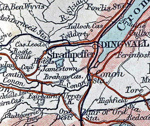 Strathpeffer railway station - 1899 map showing the line to Strathpeffer from Fodderty Junction, and Achterneed station