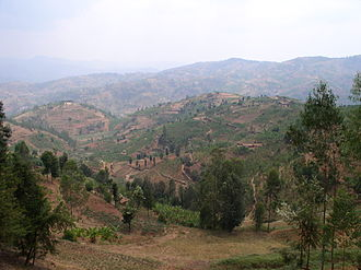 History of Rwanda - Landscape of Gitarama in the north.