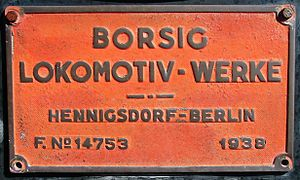 LEW Hennigsdorf - Borsig builder's plate, South African Class 19D no. 2702 of 1938