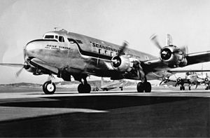 SAS DC-6, Agne Viking SE-BDB on the ground, at the airport.jpg