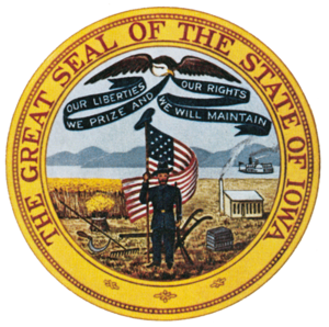 Iowa (steamboat) - Seal of Iowa, showing the Steamboat Iowa on the right.