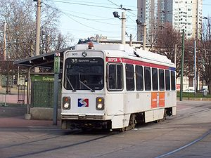 40th Street Portal - Route 36 trolley at the 40th Street portal