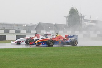 Sevilla FC (Superleague Formula team) - Borja García fighting on-track with Max Wissel of FC Basel 1893 in the second 2008 Donington Park race