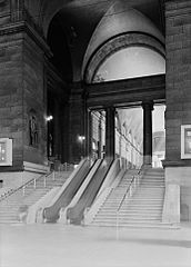 STAIRWAY FROM WAITING ROOM TO ARCADE. - Pennsylvania Station.jpg