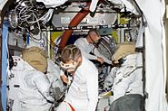 STS117 Swanson Forrester EVA2 preparations