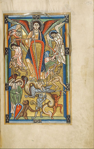 Prayer to Saint Michael - Saint Michael Battling the Dragon (illumination, probably of the 1170s, in the Getty Museum)