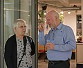 Sally V and Geert Van Pamel chatting at the Wiki Loves Heritage 2018 Flanders award ceremony (DSCF7872).jpg