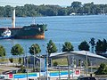 Salty freighter Brant approaching the Redpath sugar refinery - panoramio.jpg