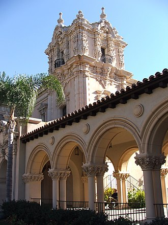 Panama–California Exposition - Casa de Balboa, as rebuilt in the 1980s, and the El Prado Arcade