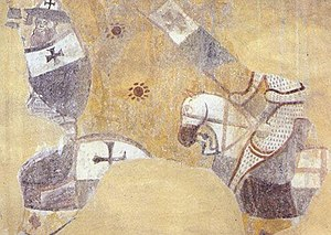 Baucent - Fragement of the fresco at San Bevignate (c. 1290) showing the gonfanon with a red cross patty.