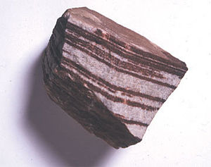 Rock (geology) - Sedimentary sandstone with iron oxide bands